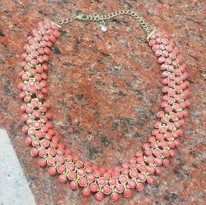 VINTAGE Coral Color Statement Necklace